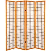 Oriental Furniture 71'' x 63'' Window Pane 4 Panel Room Divider; Honey