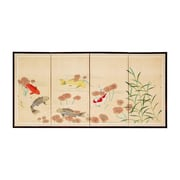 Oriental Furniture 24'' x 48'' The Five Fish 4 Panel Room Divider
