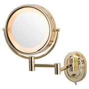 Jerdon Lighted 5X Magnifying Cosmetic Mirror; Brass
