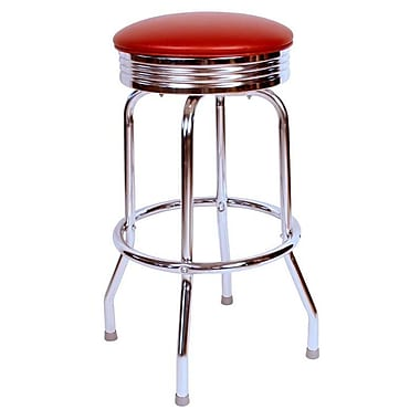 Richardson Seating Retro Home 24'' Swivel Bar Stool with Cushion; Wine