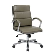 Office Star Mid-Back Leather Executive Office Chair Padded Arms and Base; Smoke