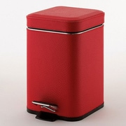 Gedy by Nameeks 1.41 Gallon Step-On Metal Trash Can; Faux Leather Red