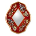 Novica The Gelacio Giron Reverse Painted Glass Mirror; Red