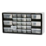 Akro Mils Stackable Cabinet, 26 Drawers, 20''x6-3/8''x10-11/32, Black/Gray