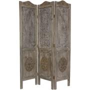 Oriental Furniture 74.5'' x 49.5'' Closed Mesh Antique Design 3 Panel Room Divider