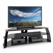 CorLiving™ Taylor Extra Wide TV Stand With Glass Shelves For 47 - 65 TVs, Glossy Black