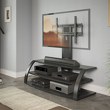 CorLiving™ Malibu TV Stand With Mount and Metal Uprights For 42