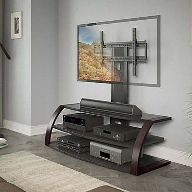 CorLiving™ Malibu TV Stand With Mount and Metal Uprights For 42in. - 65in. TVs, Wood Print