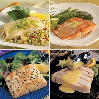 Seafood Sampler Omaha Steaks Wild Salmon Fillets ,Halibut Fillets, Mahi Mahi Fillets & Swordfish Steaks