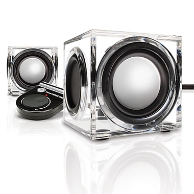 GOgroove SonaVERSE CRS USB Powered Mini Computer Speakers, Clear