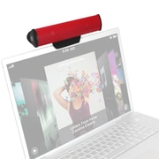 GOgroove SonaVERSE USB Clip On Laptop Speaker Sound Bar with USB Plug-n-Play Design, Red