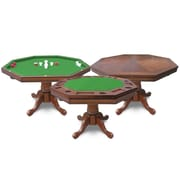 Kingston Walnut 3-in-1 Poker Table w/ 4 Arm Chairs
