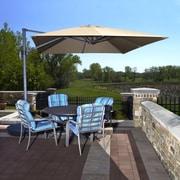 Blue Wave Santorini II 10' Square Cantilever Umbrella With Tilt, Stone Sunbrella Acrylic