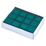 """Hathaway™ 3"""" x 4"""" x 0.1"""" Billiard Pool Cue Chalk, Green, 12/Pack"""