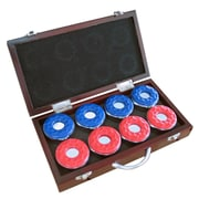 "Hathaway™ 2 1/8"" x 5 5/16"" x 9 5/8"" Game Table Shuffleboard Pucks W/Carry Case, Dark Cherry, 8/Set"