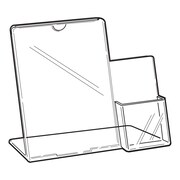 FFR Merchandising Tru-Vu Easel Styrene Sign Holder with Side Pocket, 12.5""