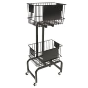 FFR Merchandising® Mobile Two-Tier Wire Dump Bin, 47H x 20W x 13D