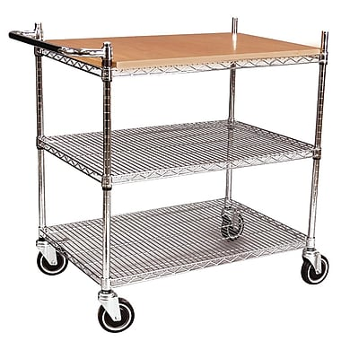 FFR Merchandising® Interlock™ 40in. Butcher Block Display Cart, Chrome