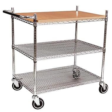 FFR Merchandising® Interlock™ 40in. Butcher Block Display Cart, Chrome
