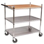 FFR Merchandising® Interlock™ 40 Butcher Block Display Cart, Chrome