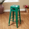 TMS 30'' Avalon Metal Stackable Stool (Set of 2); Green