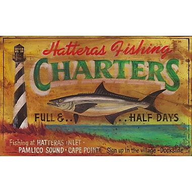 Vintage Signs Hatteras Charters Vintage Advertisement Plaque