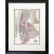 PENL Maps 1866 NYC and Brooklyn Map Framed Graphic Art