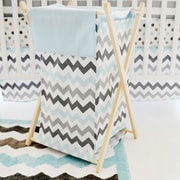 My Baby Sam Chevron Baby Hamper; Aqua/Gray