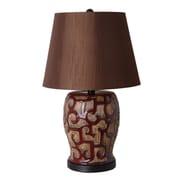 Illuminada 3-Way Ceramic Pot 22.75'' H Table Lamp wih Empire Shade; 150W Incandescent or 23W CFL