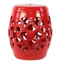 Woodland Imports Ceramic Open Garden Stool; Red
