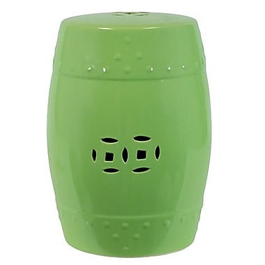 Woodland Imports Ceramic Garden Stool; Green