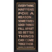 Artistic Reflections Everything Happens Framed Textual Art