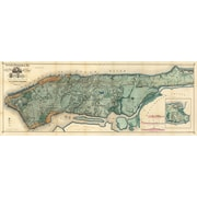 Graffitee Studios Maps 1865 NYC Map Graphic Art on Wrapped Canvas