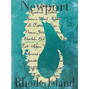 Graffitee Studios Rhode Island Newport Seahorse Graphic Art on Wrapped Canvas
