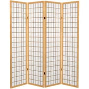 Oriental Furniture 71'' x 63'' Window Pane 4 Panel Room Divider; Natural
