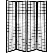 Oriental Furniture 71'' x 63'' Window Pane 4 Panel Room Divider; Black