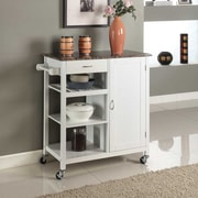 InRoom Designs Kitchen Cart w/ Faux Marble Top; White