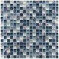EliteTile Sierra 5/8'' x 5/8'' Glass and Stone Polished Mosaic in Gulf