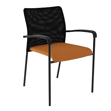 Compel Office Furniture Match Mesh Guest Chair with Quattro Fabric Seat; Orange