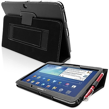 Snugg Leather Flip Stand Cover Case With Elastic Strap For Galaxy Tab 3 10.1, Black