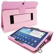 Snugg Leather Flip Stand Cover Case With Elastic Strap For Galaxy Tab 3 10.1, Candy Pink