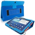 Snugg Leather Flip Stand Cover Case With Elastic Strap For Galaxy Tab 3 10.1, Electric Blue
