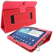 Snugg Leather Flip Stand Cover Case With Elastic Strap For Galaxy Tab 3 10.1, Red