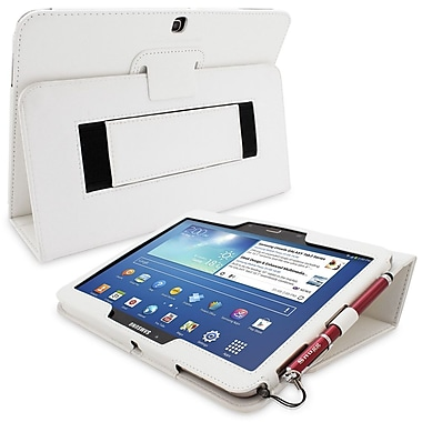 Snugg Leather Flip Stand Cover Case With Elastic Strap For Galaxy Tab 3 10.1, White