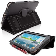 Snugg Leather Flip Stand Cover Case With Elastic Strap For Samsung Galaxy Tab 3 7, Black