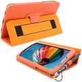 Snugg Leather Flip Stand Cover Case With Elastic Strap For Samsung Galaxy Tab 3 7, Orange