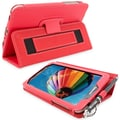 Snugg Leather Flip Stand Cover Case With Elastic Strap For Samsung Galaxy Tab 3 7, Red