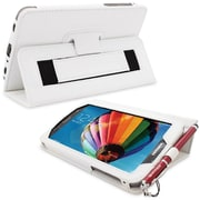 Snugg Leather Flip Stand Cover Case With Elastic Strap For Samsung Galaxy Tab 3 7, White