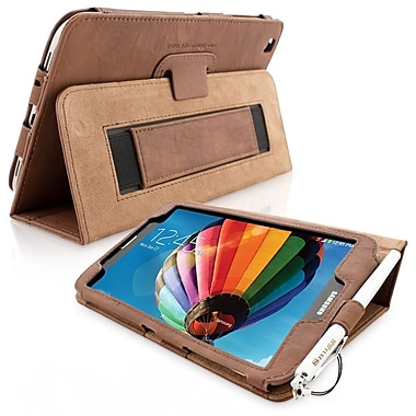 Snugg Leather Flip Stand Cover Case With Elastic Strap For Samsung Galaxy Tab 3 8, Distressed Brown