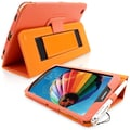 Snugg Leather Flip Stand Cover Case With Elastic Strap For Samsung Galaxy Tab 3 8, Orange